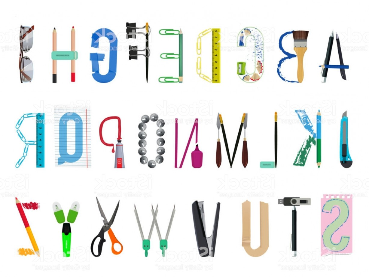 Supplies Vector Graphic: English Alphabet From Office Supplies Gm