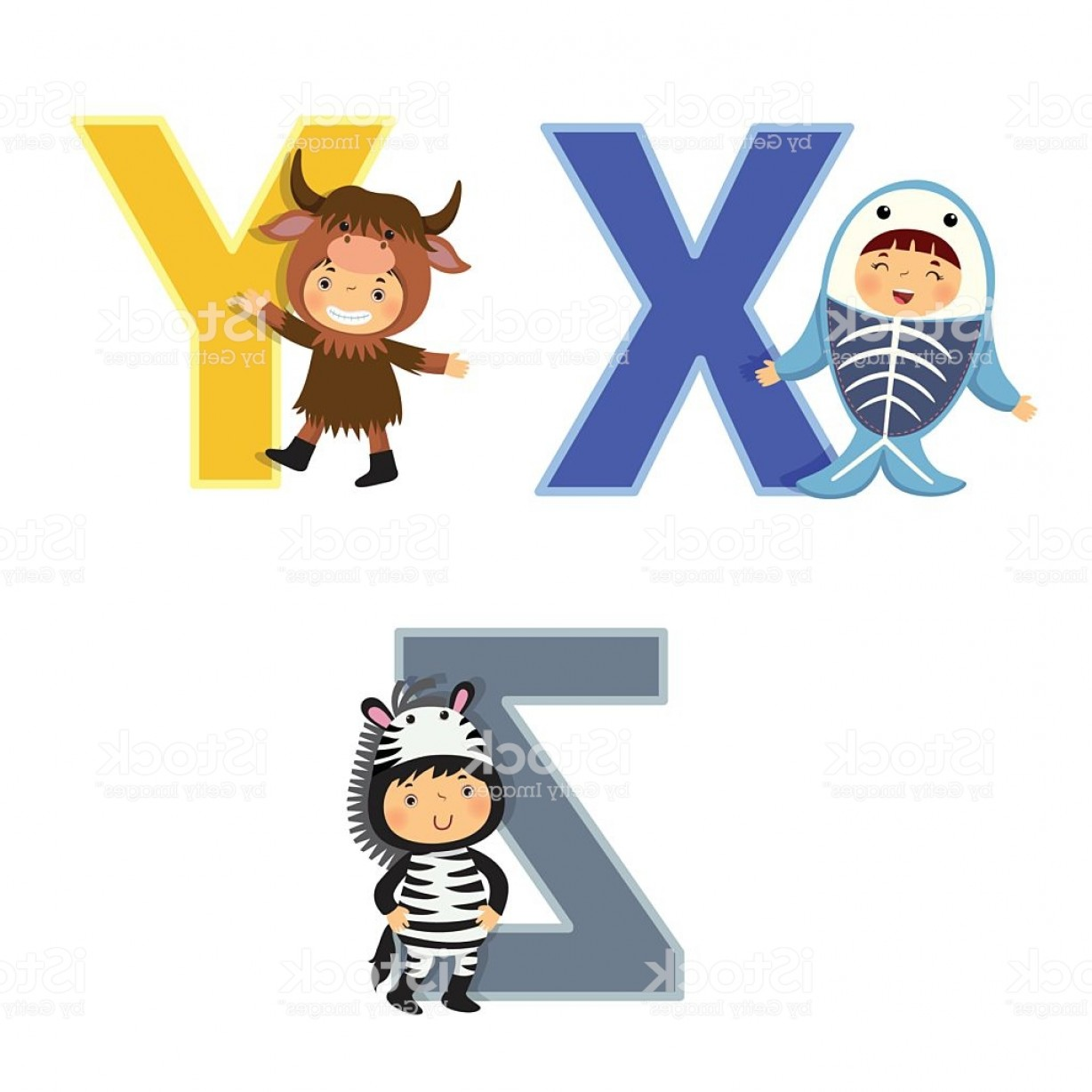320 Vector: English Alphabet With Kids In Animal Costume Gm