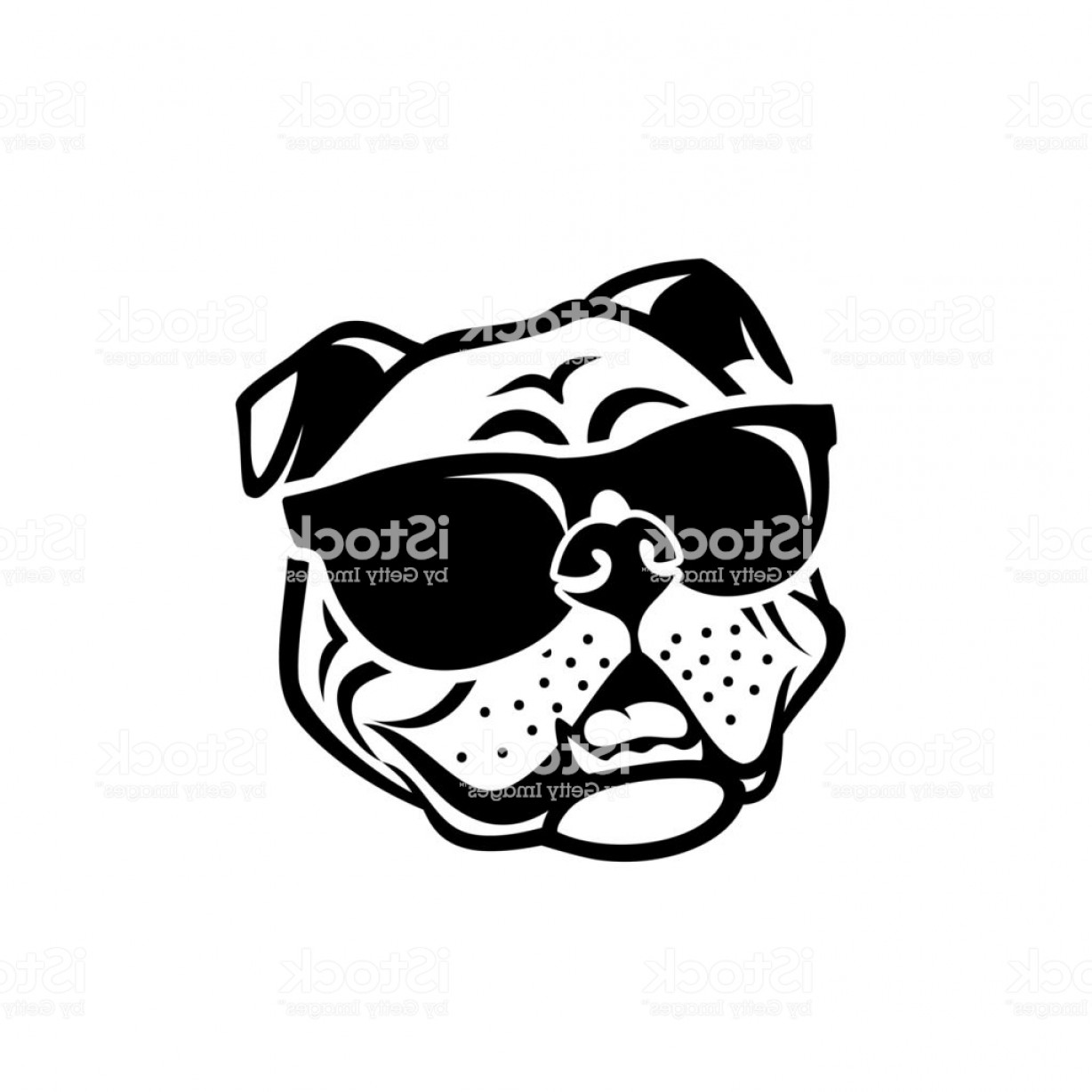 Bulldog Vector Art: English Bulldog Wearing Sunglasses Isolated Outlined Vector Illustration Gm