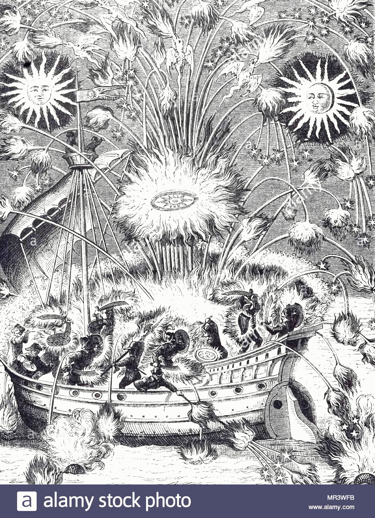 Firework Engraving Vector: Engraving Depicting A Firework Display In Imitation Of A Naval Battle Dated Th Century Image
