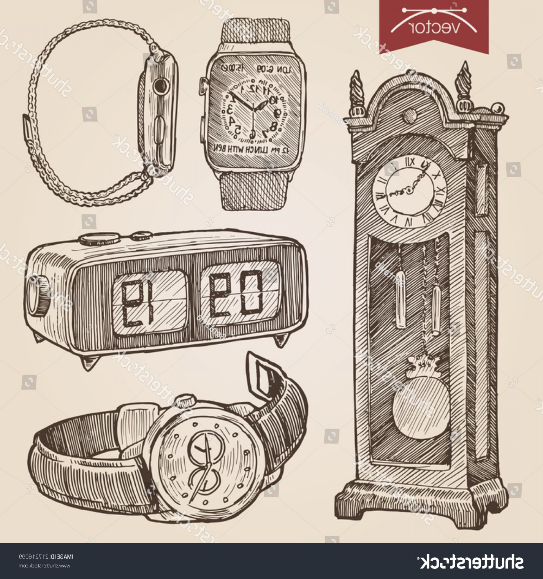 Old Floor Clock Vector: Engraving Style Pen Pencil Crosshatch Hatching