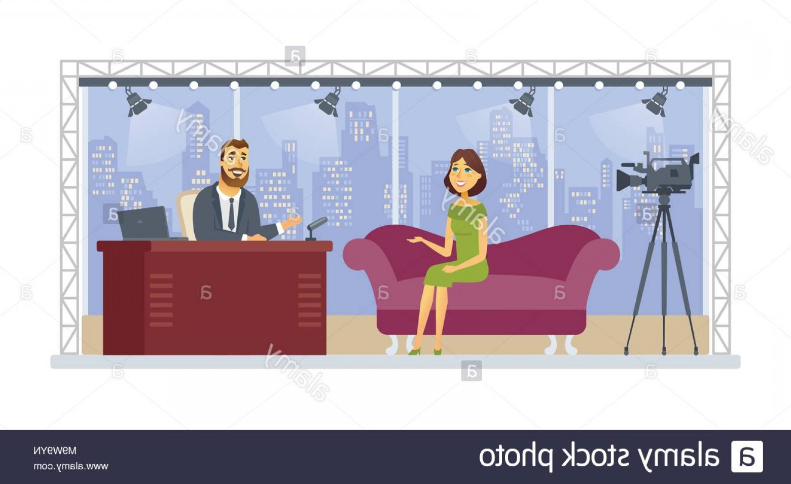Talk Show Vector: Entertainment Talk Show Cartoon People Character Isolated Illustration Image