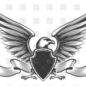 Vector Eagle Shield Sword: Flying Eagle Holding Sword Vector