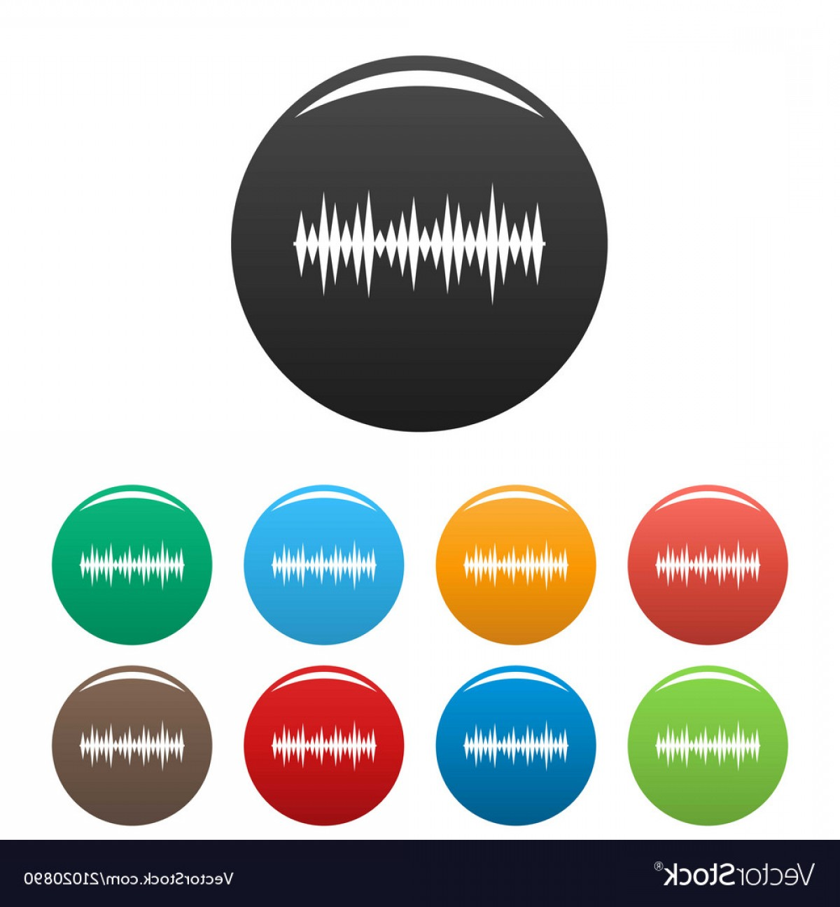 Equalizer Vector Icons: Equalizer Melody Icons Set Color Vector
