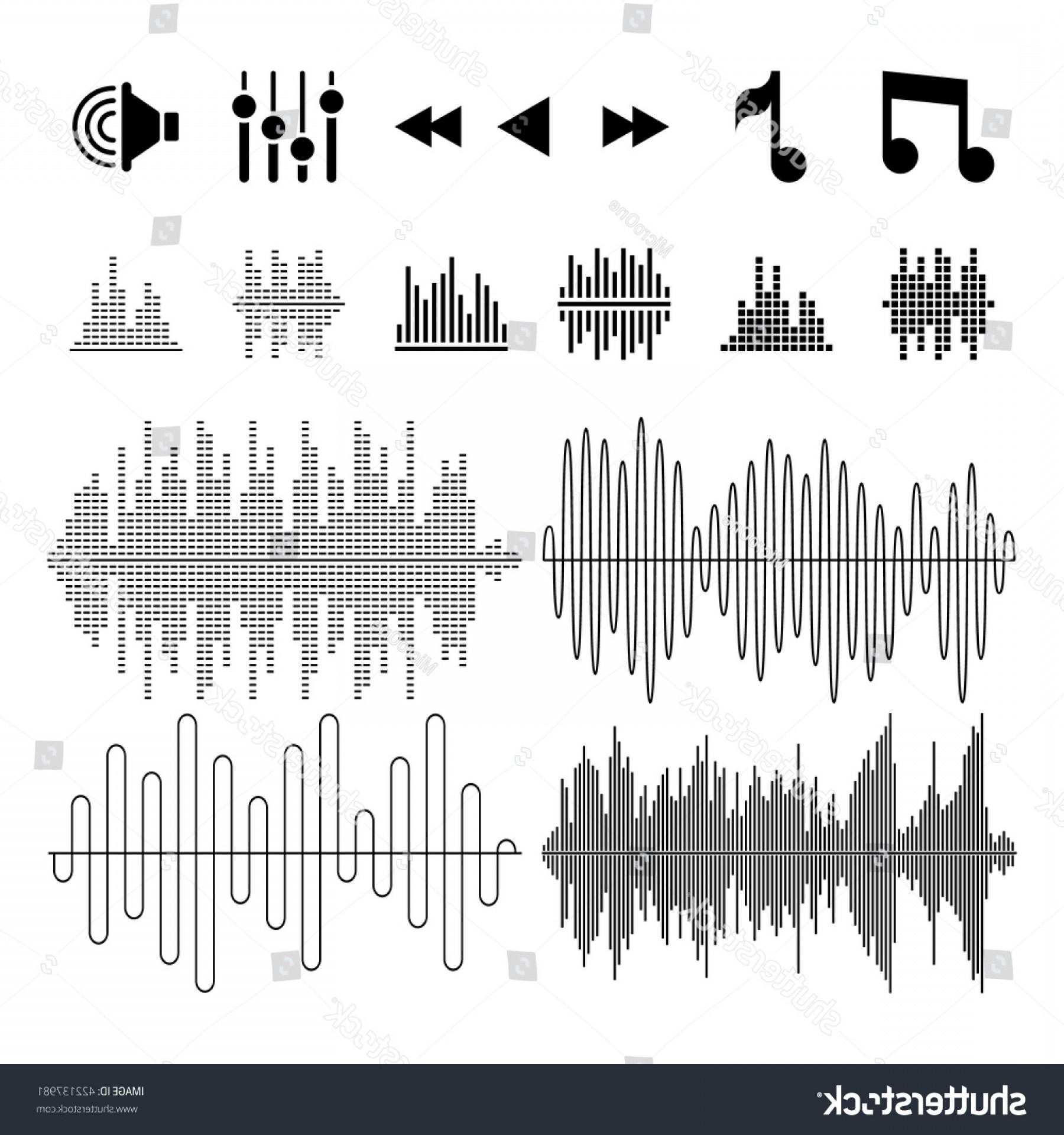 Rock Band Equalizer Vector: Equalizer Music Sound Waves Vector Icons