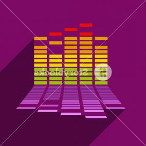 Equalizer Vector Icons: Stock Illustration On Ear Headphones With Equalizer