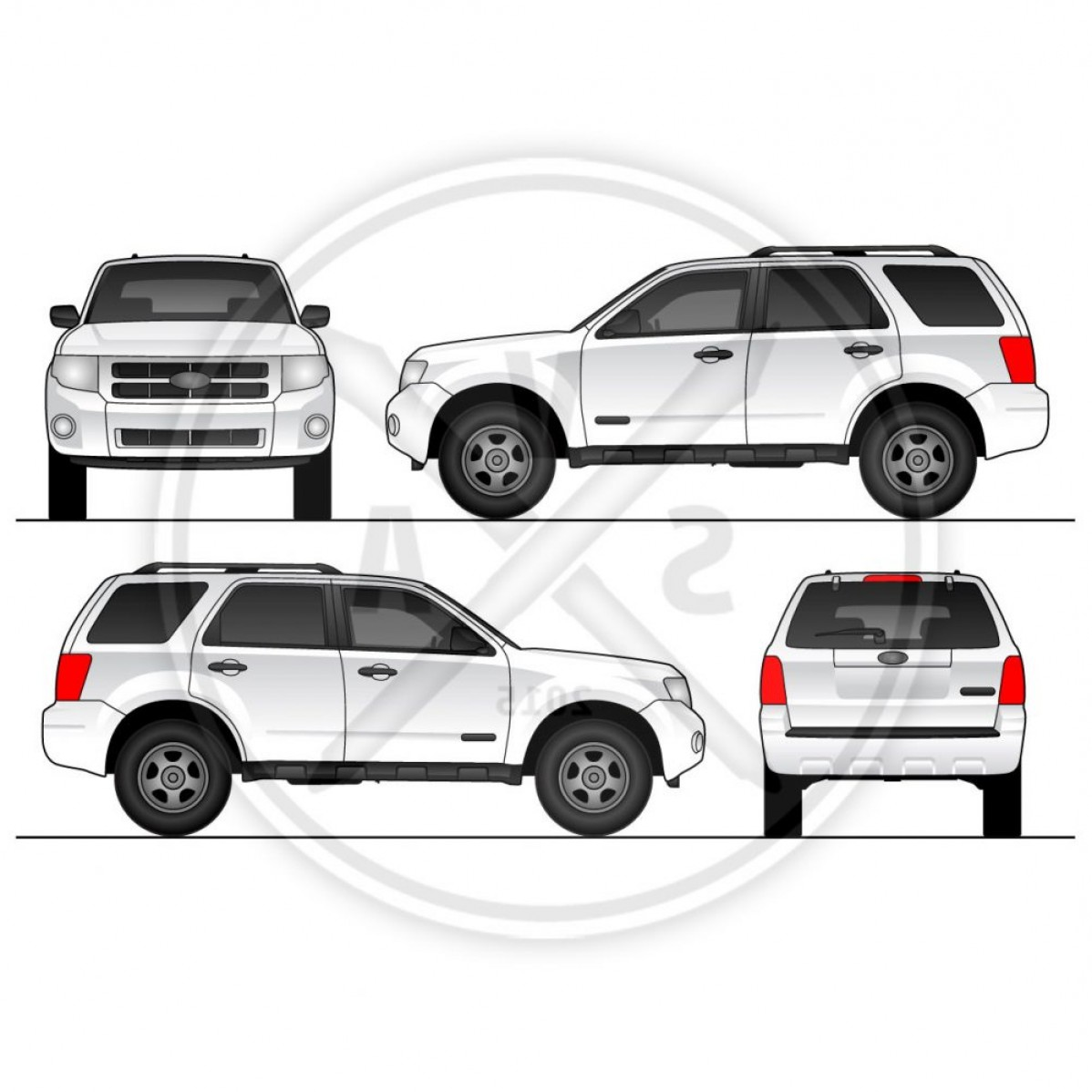 Ford Vector Art: Escape Suv Blank Stock Vector Artwork