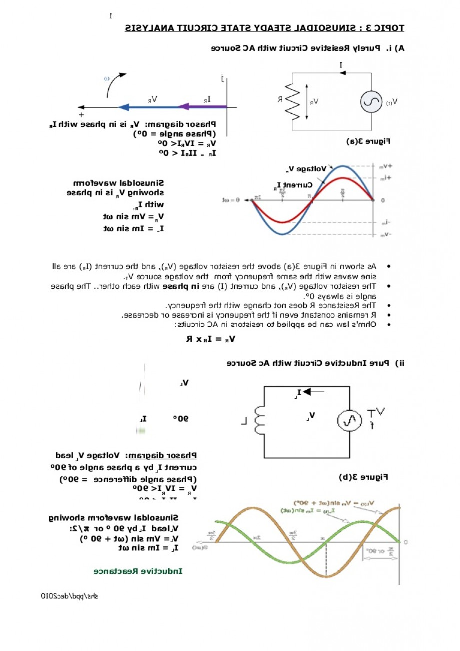 Reactance Vector Diagrams: Et Chapter Sinusoidal Steady State Circuit Analysis