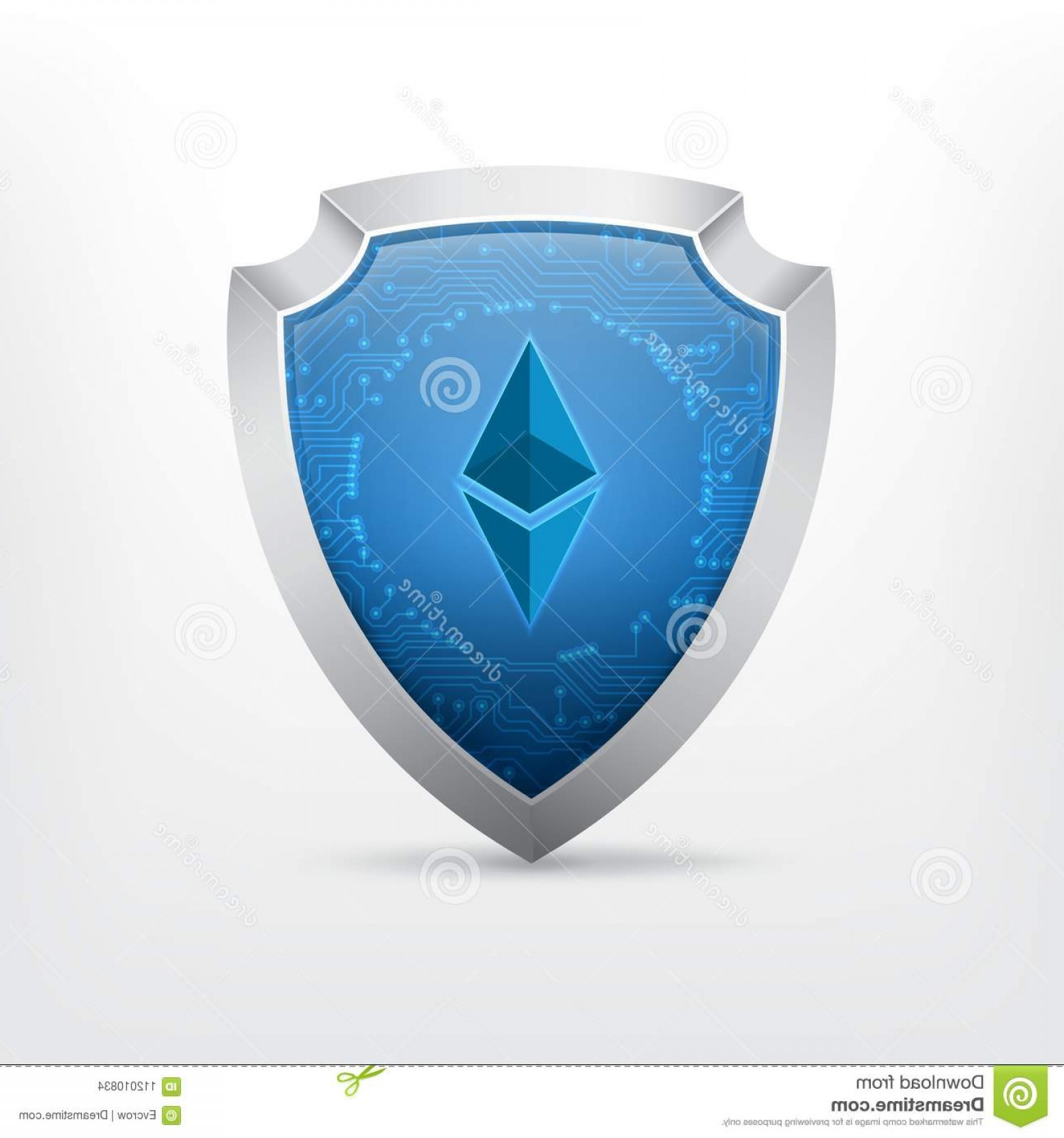 Cyber Defense Vector: Ethereum Crypto Currency Sign Shield Circuit Board Texture Cyber Security Vector Icon Eps Ethereum Crypto Currency Sign Image