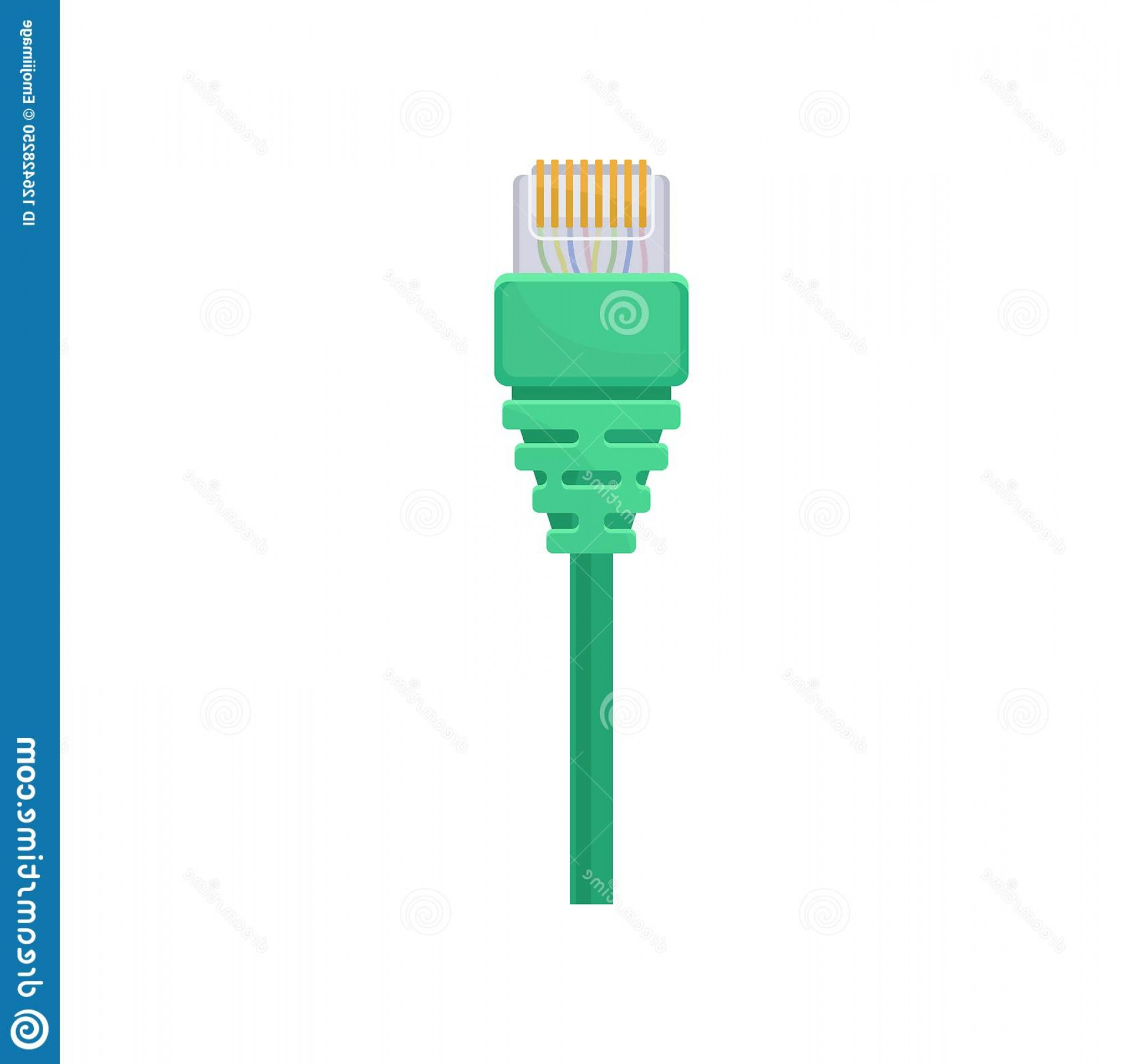 Vector Connector: Ethernet Connector Green Cable Registered Jack Item Connecting Computer Data Equipment Flat Vector Icon Piece Male Image