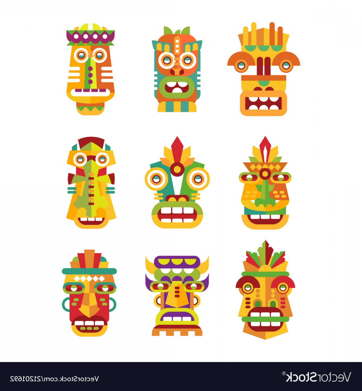 Tribal Football Vector Art: Ethnic Mask Set Tribal Indian Or African Colorful Vector