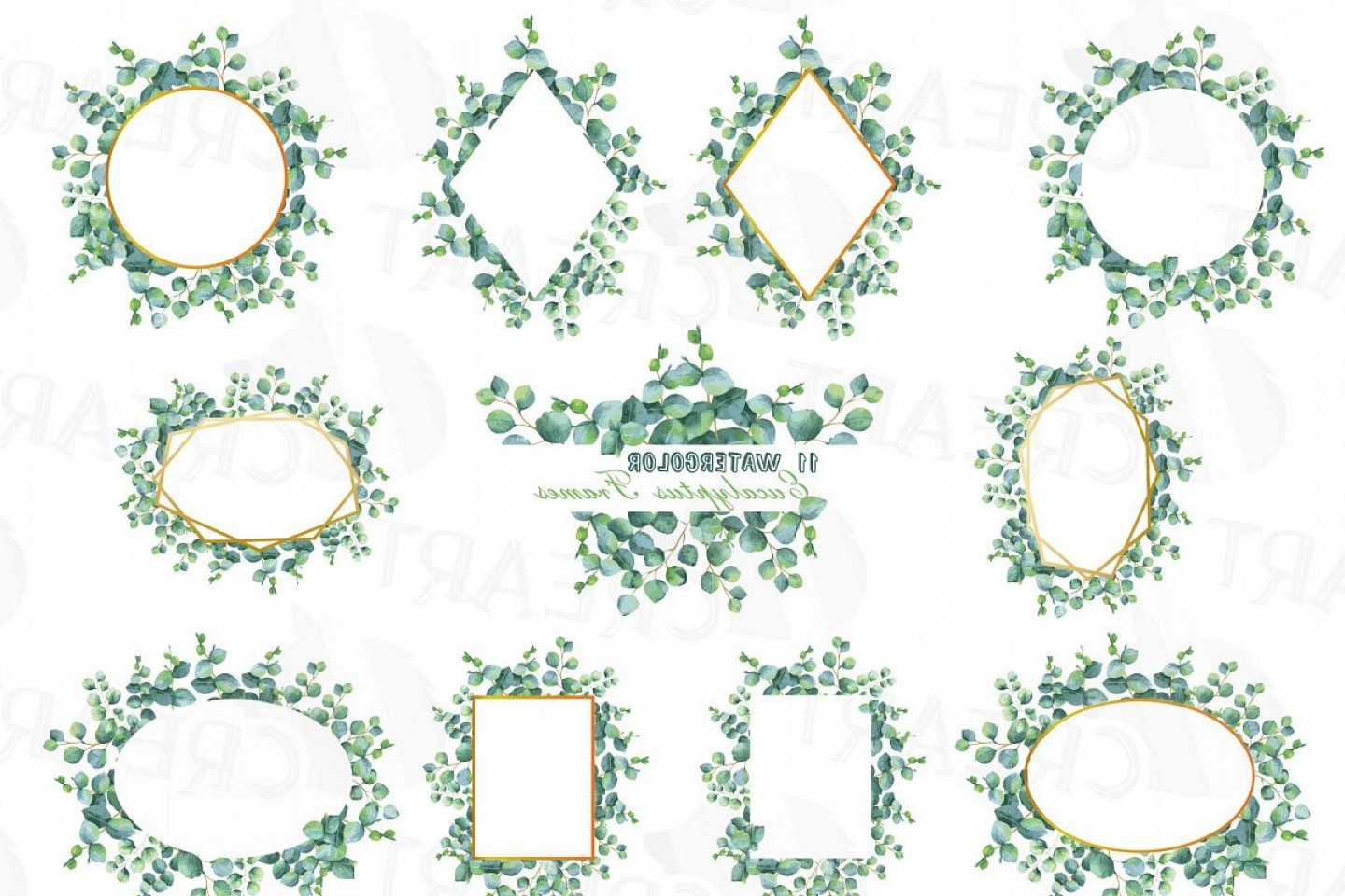 Corel Vector Clip Art: Eucalyptus Frames Watercolor Clip Art Pack Eucalyptus Leaves Design Borders Png Jpg Svg Vector Illustrator And Corel Files Included