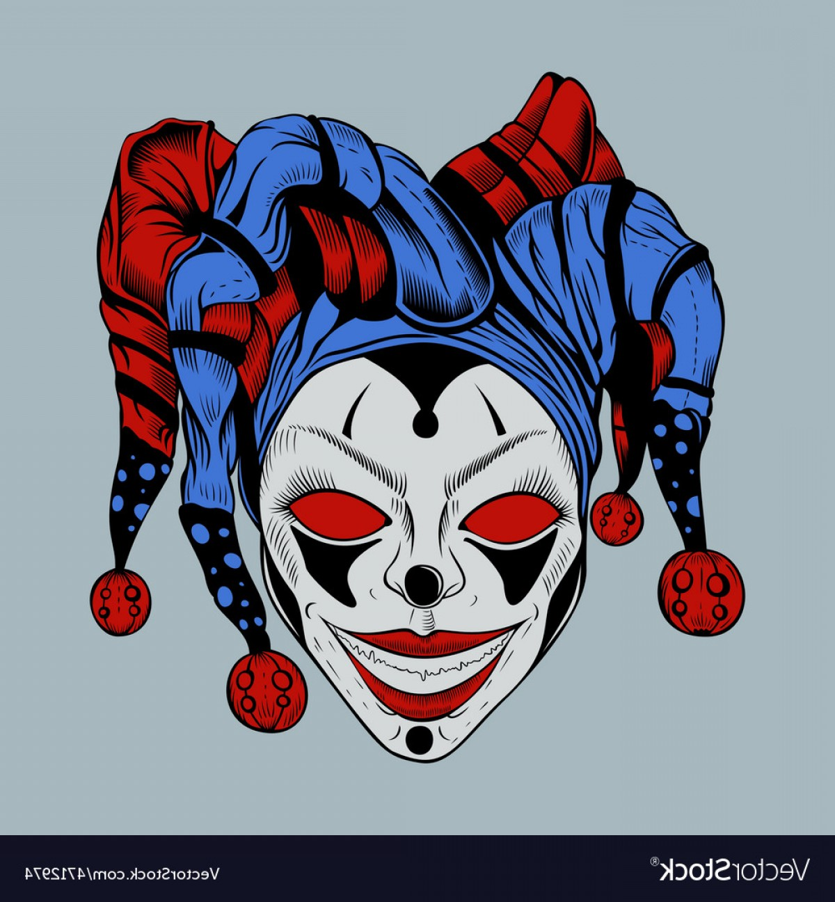 Creepy Clown Vector: Evil Clown In Colored Cap Vector