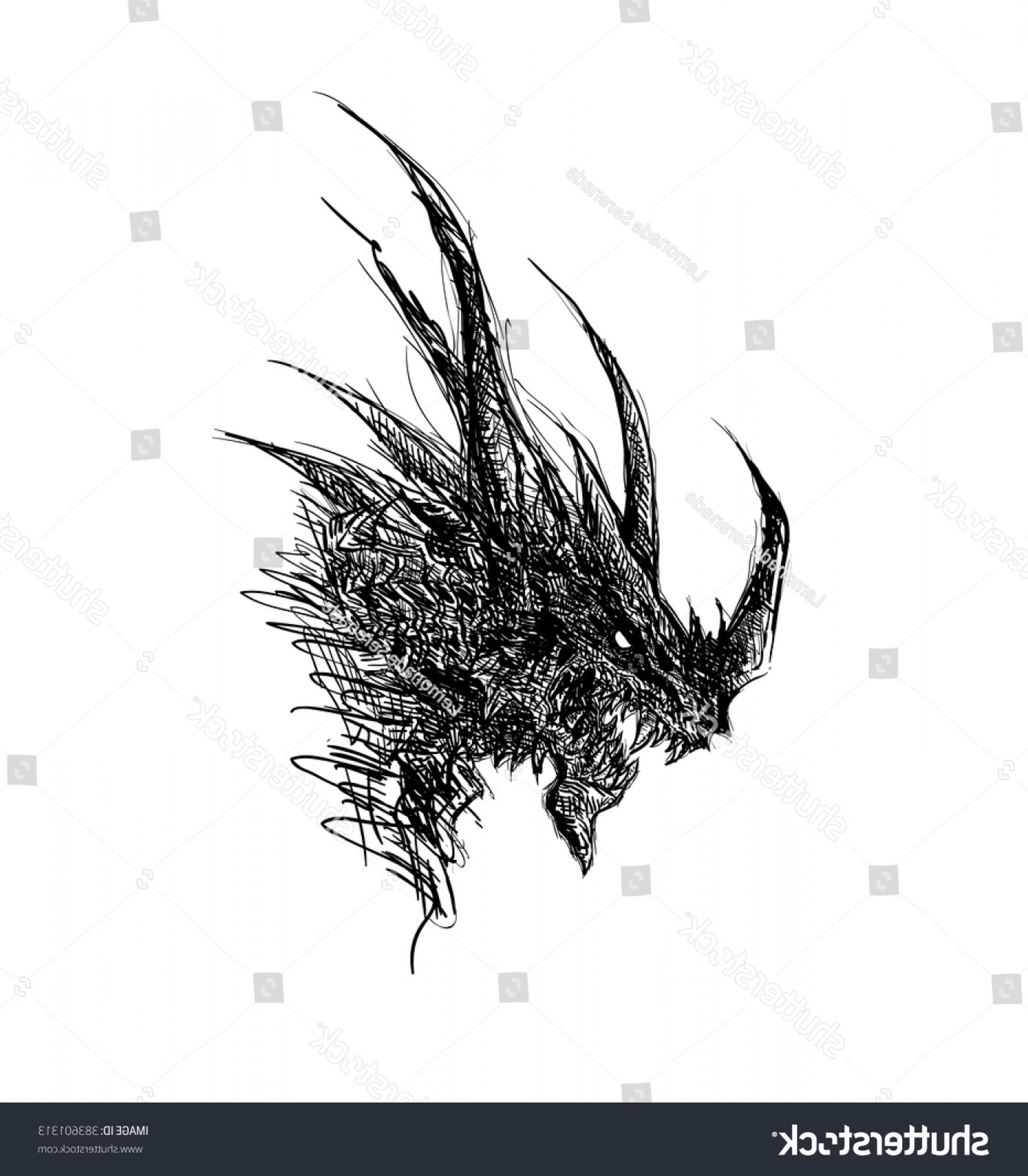 Cool Evil Vectors: Evil Looking Dragon Head Sketch Hand