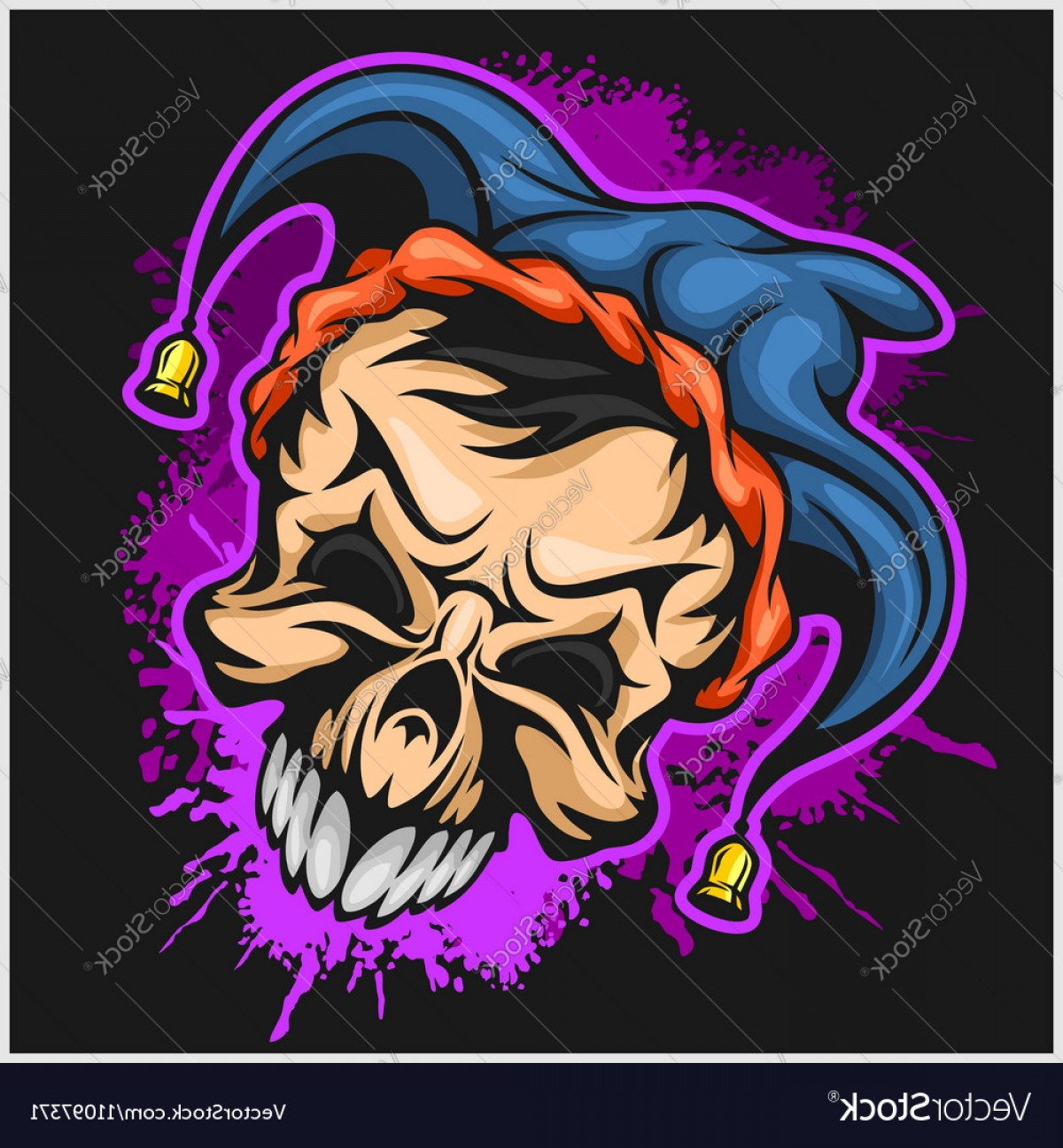 Joker Vector Graphics: Evil Scary Clown Halloween Monster Joker Vector