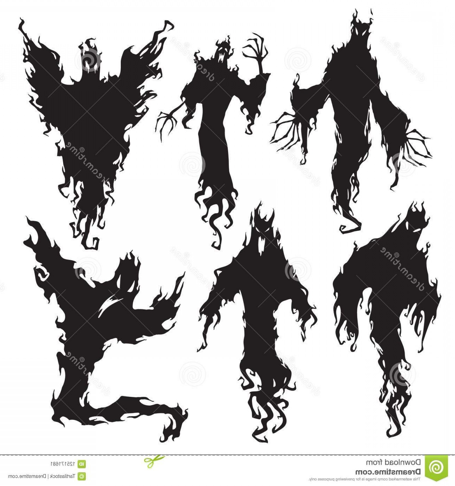 Wizard Silhouette Vector: Evil Spirit Silhouette Halloween Dark Night Devil Nightmare Demon Ghost Appear Magic Wizard Ugly Silhouettes Flying Image