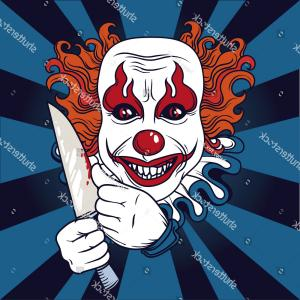 Evil Clown Vector Art: Scary Mask Clown Halloween Head Monster Face Gm