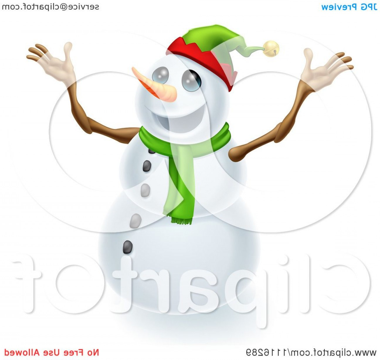 No Hat With Snowman Vector: Excited Snowman Wearing A Christmas Elf Hat