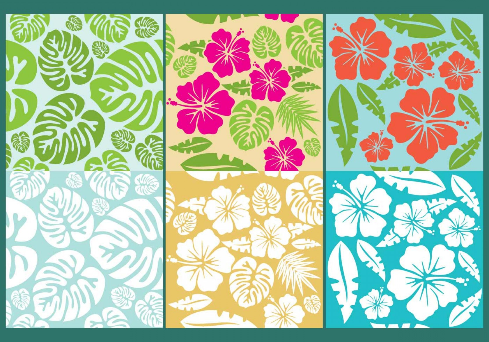 Hawaiian Flower Seamless Vector Pattern: Exclusive Hawaiian Flowers Pattern Vectors