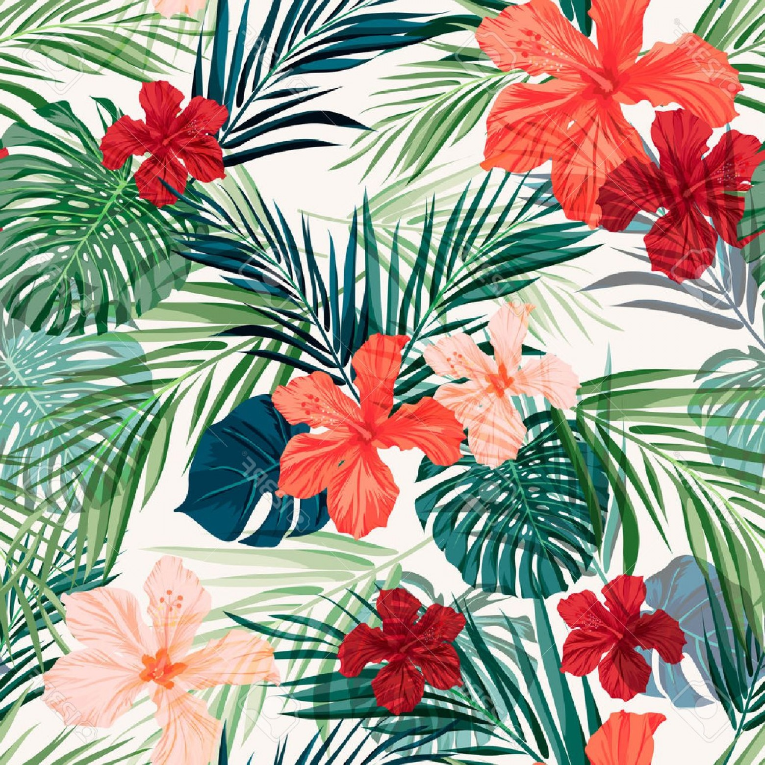 Hawaiian Flower Seamless Vector Pattern: Exclusive Photostock Vector Summer Colorful Hawaiian Seamless Pattern With Tropical Plants And Hibiscus Flowers Vector Illustrat