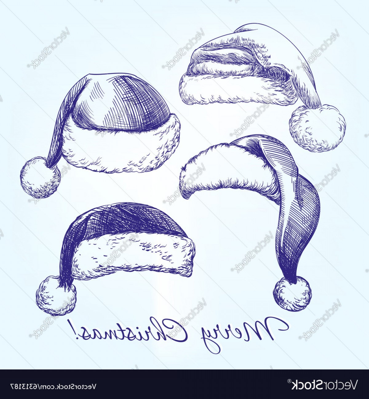 Stocking Hat Vector: Exclusive Santa Stocking Hat Set Hand Drawn Vector