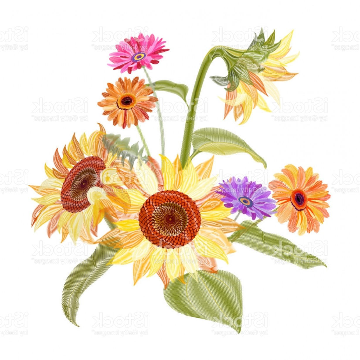 Orange Gerber Daisy Vector: Exclusive Yellow Orange Sunflower Gerbera Daisy Flowers Bud Green Leaves Embroidery On White Gm