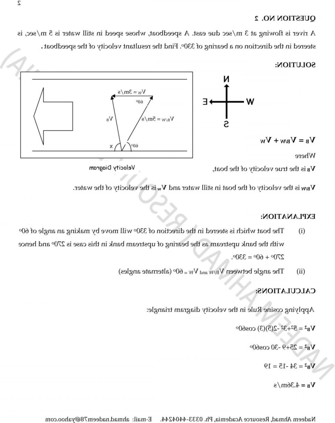 2.Solve Resultant Vectors: Exercise Page