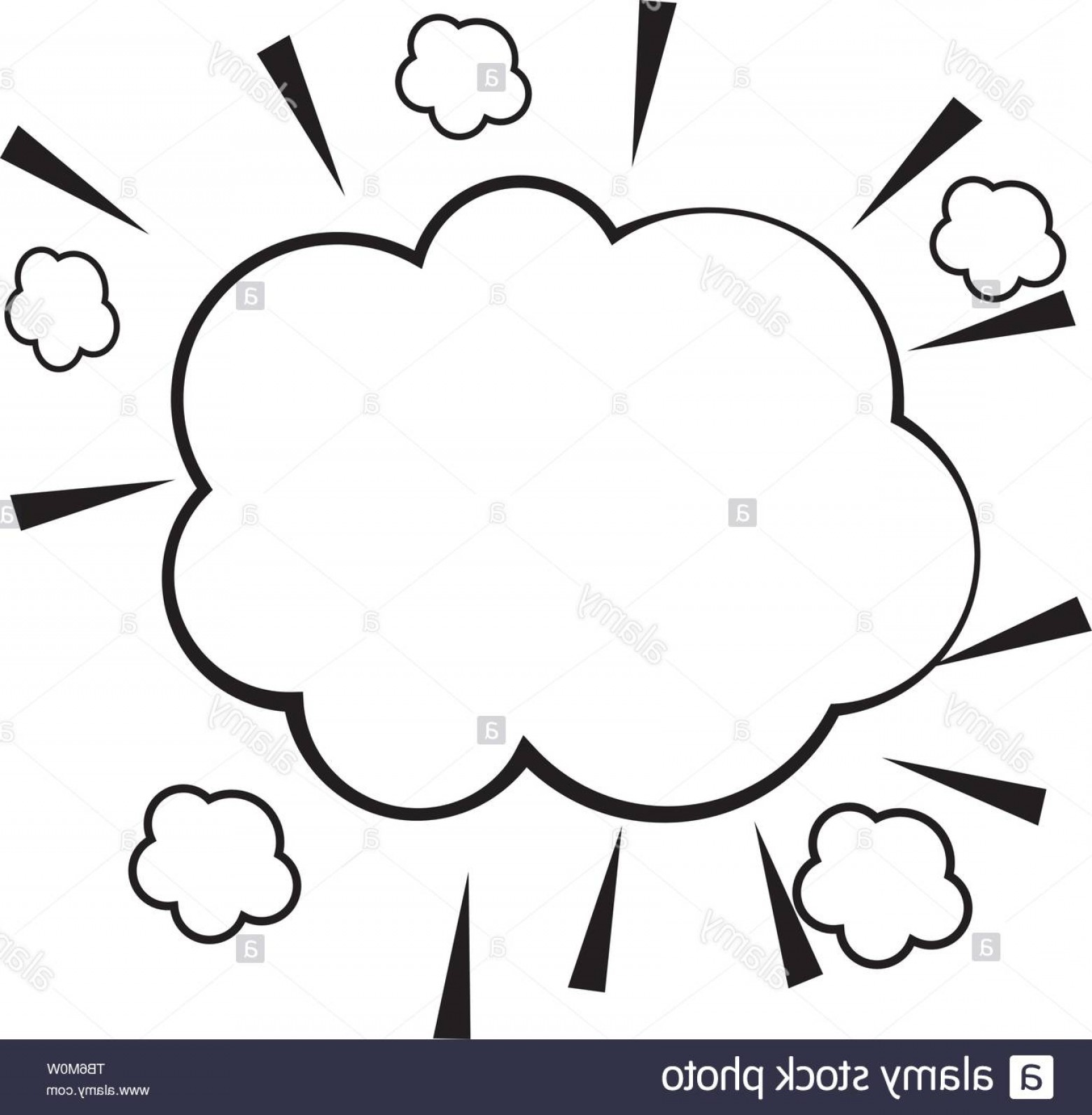 Vector Art Black And White Bubbles: Explosion Speech Bubbles Pop Art Comic Cartoon Vector Illustration In Black And White Image
