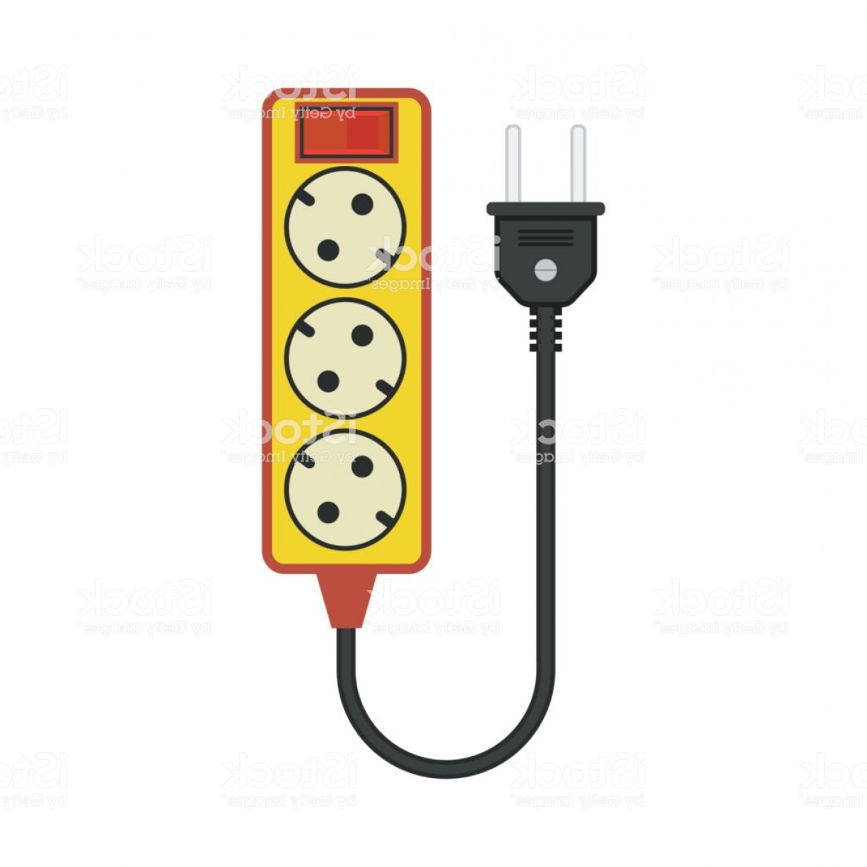 Short Cord Vector: Extension Cord Lead Icon Flat Vector Illustration Gm