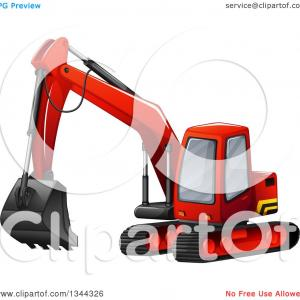 Trackhoe Vector: Excavator Silhouette Vector Illustration Mine On