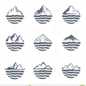 Mountain Range Silhouette Vector Free: Cute Set Black White Mountain Silhouettes Background Border Rocky Mountains Vector Illustration Image