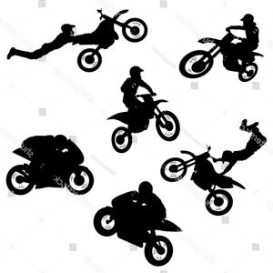 Dirt Bike Gas Can Vector: Cross Motorcycle Logo Silhouette Style Stroke