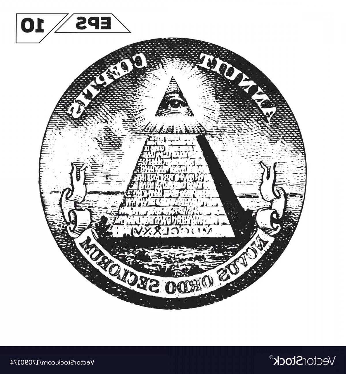 Pyramid With Eye Of Providence Vector: Eye Of Providence On One Usa Dollar Bill Vector