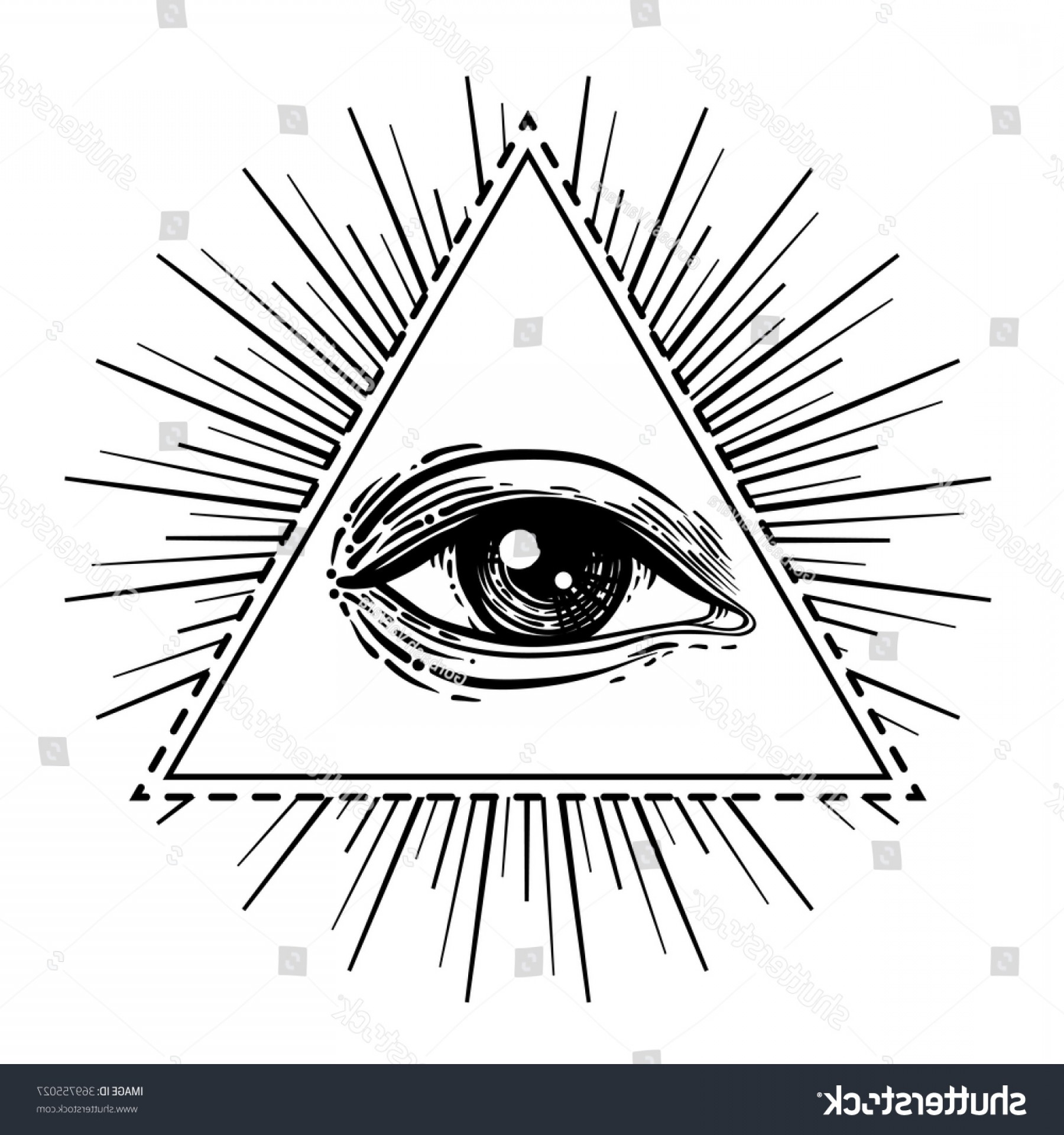 Pyramid With Eye Of Providence Vector: Eye Providence Masonic Symbol All Seeing
