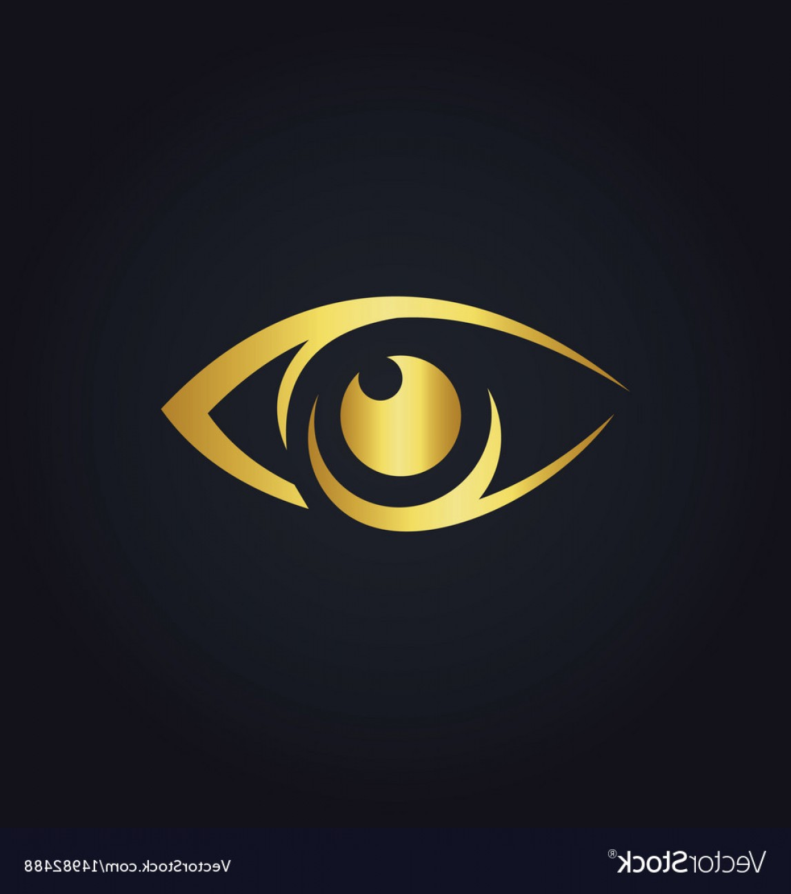 Eye Vector Logo: Eye Vision Icon Gold Logo Vector