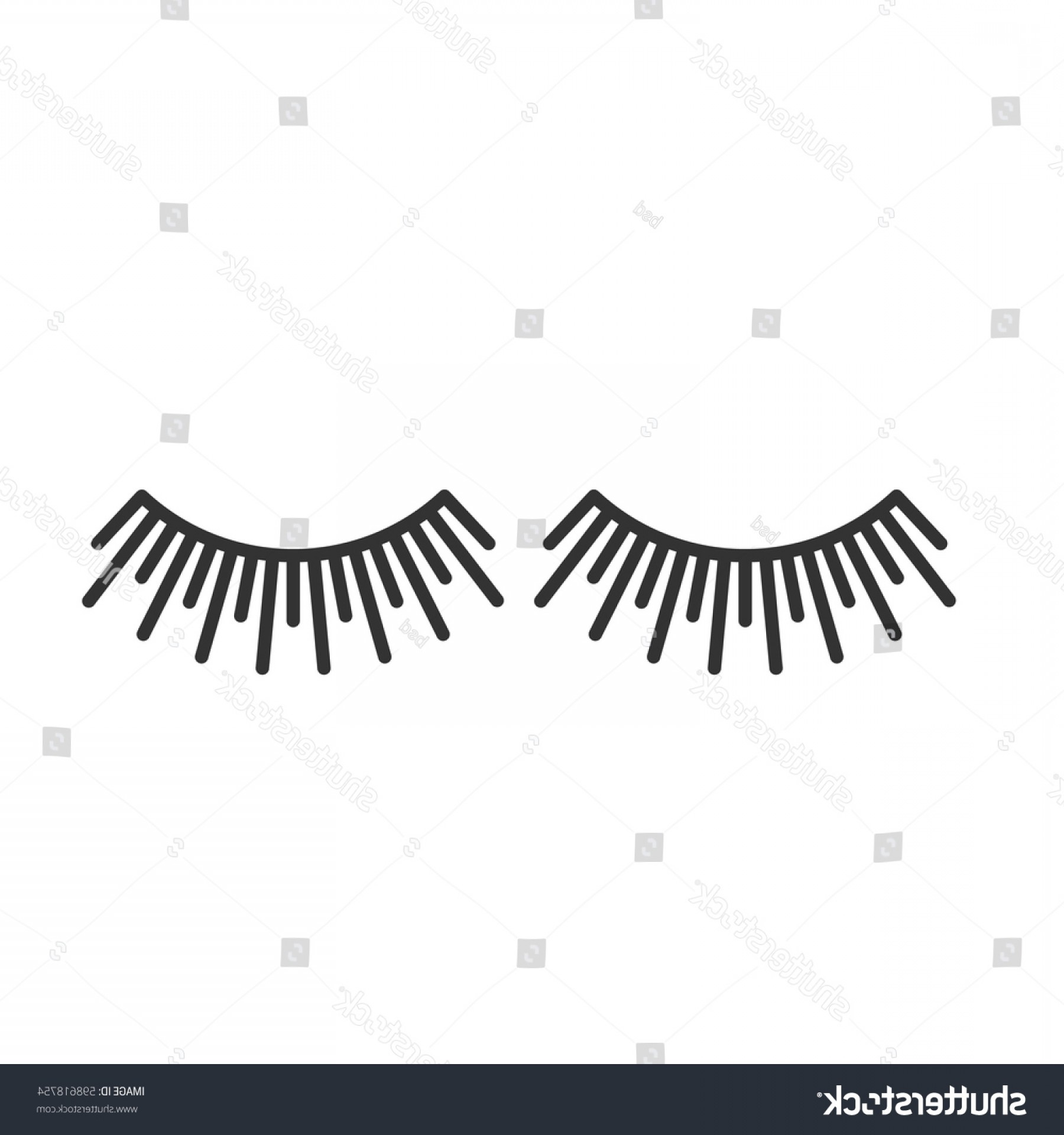 Top Eye Lashes Vector: Eyelashes Extension Linear Icon Thin Line
