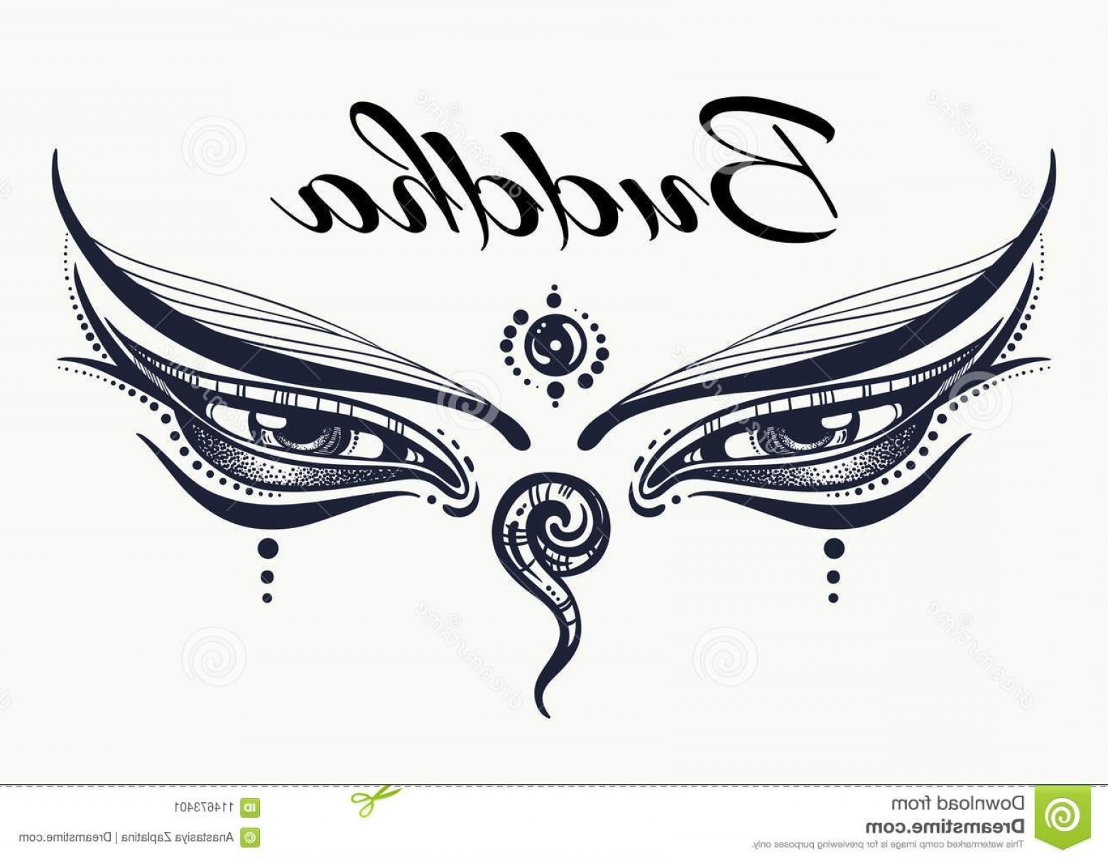 Detailed Tattoo Vector Images: Eyes Buddha Wisdom Concept Hand Drawn High Detailed Engraved Vector Art Tattoo Yoga Spiritualy Textile Image