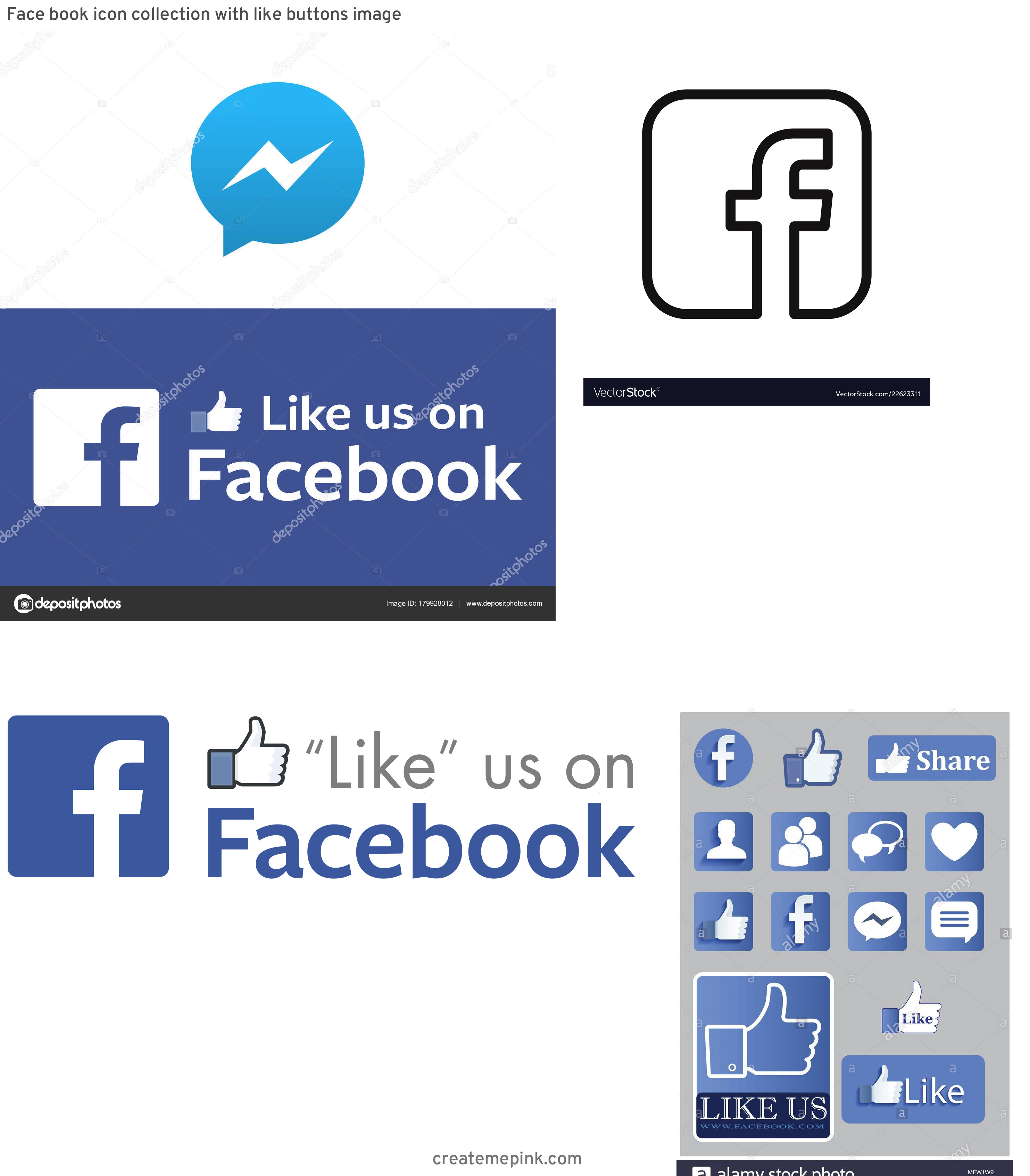 Official Like Us On Facebook Logo Vector: Face Book Icon Collection With Like Buttons Image