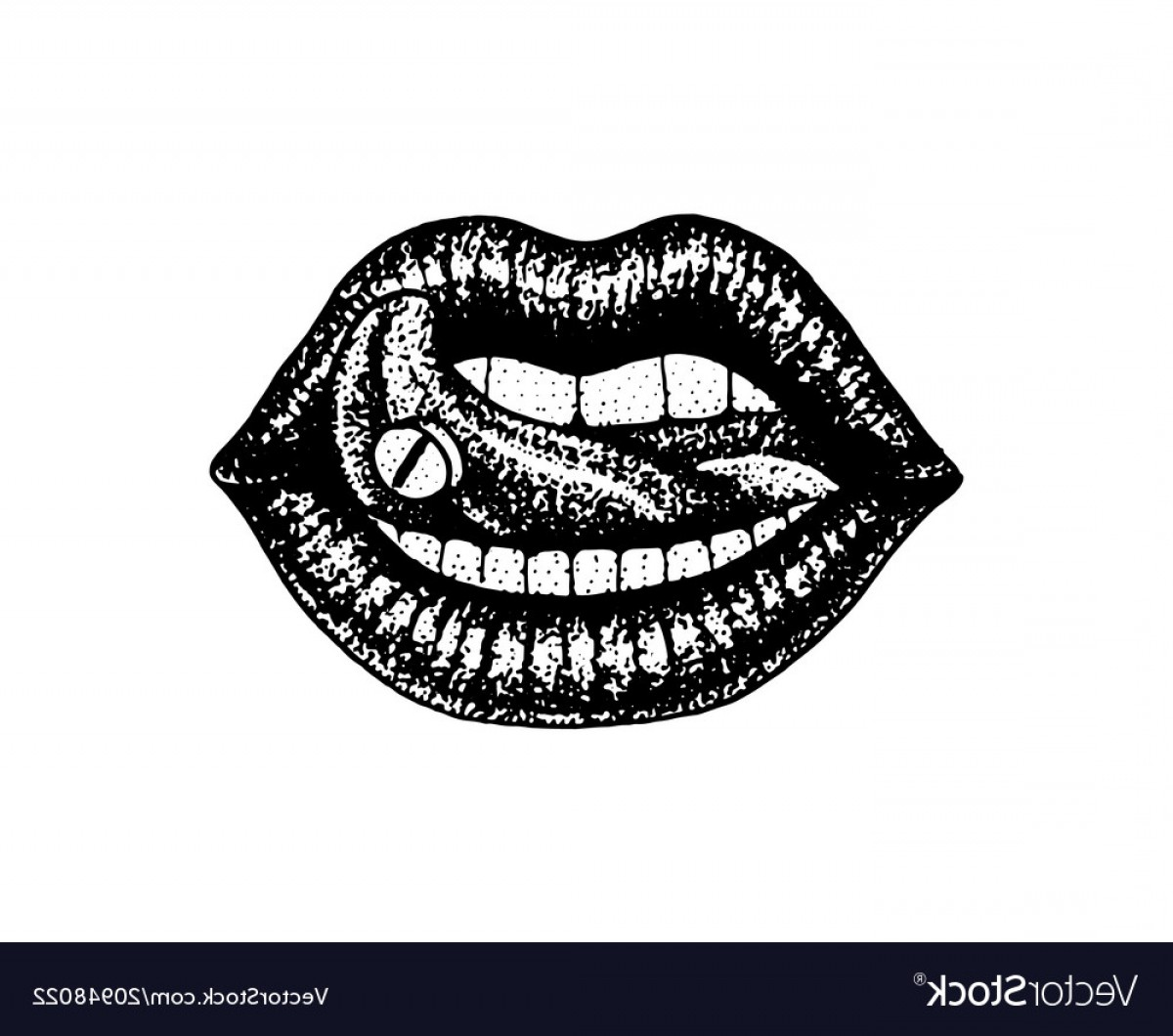 Detailed Tattoo Vector Images: Face Detailed Kiss Or Lips Fashion Tattoo Artwork Vector