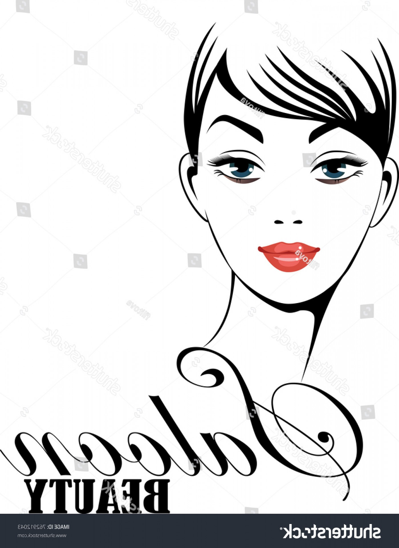 Black Beauty Vector Face: Face Girl Vector Black White Emblem