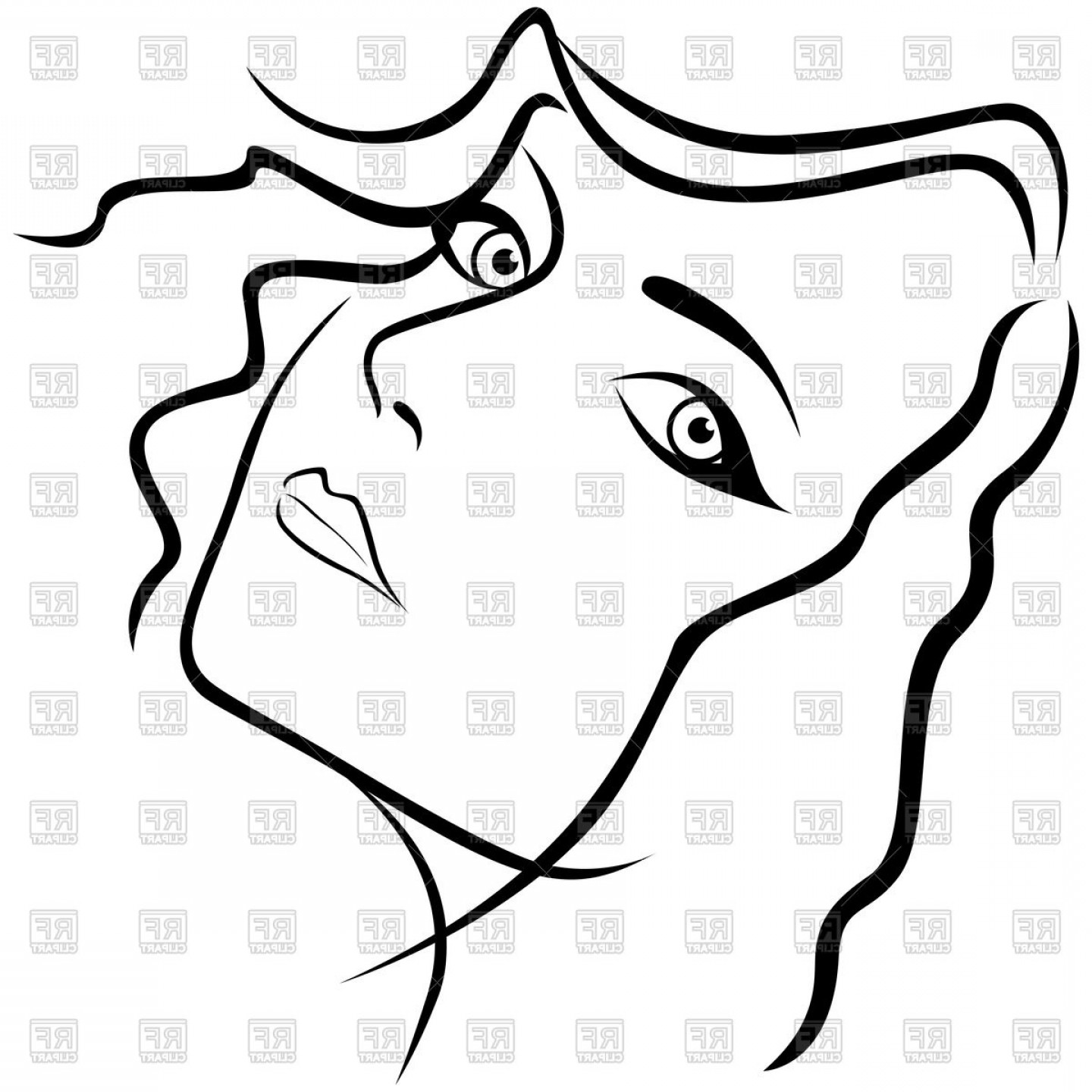 Girl Face Vector Art Black And White: Face Of Beautiful Young Woman Outline Vector Clipart