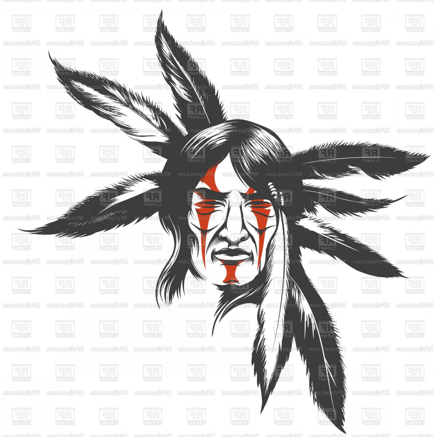 Warrior Vector Art: Face Of Native American Indian Warrior Portrait Of Native American With Painted Face And Feathers Vector Clipart