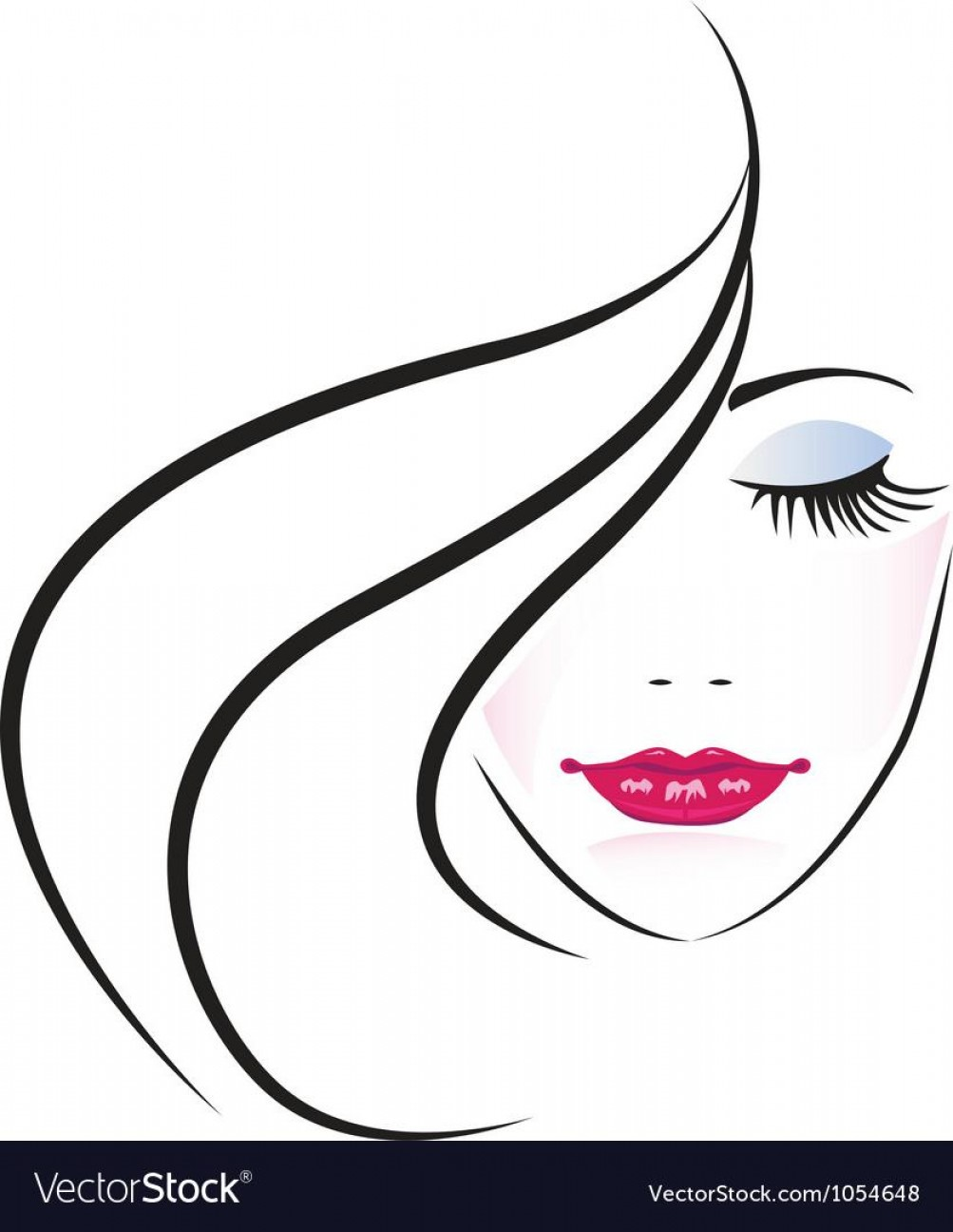 Woman Silhouette Vector Face Expression: Face Of Pretty Woman Silhouette Vector