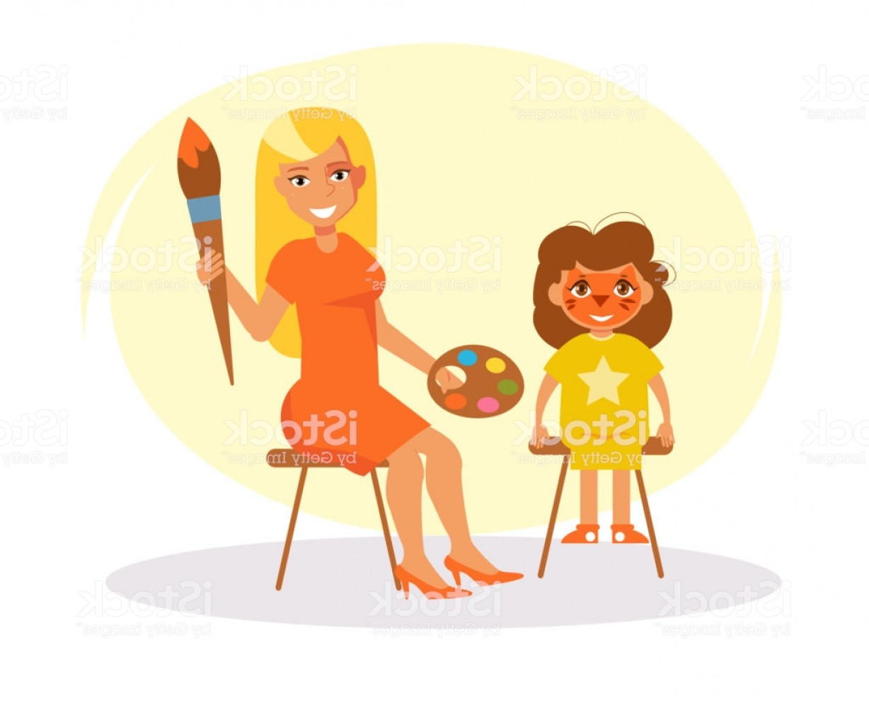 Woman Vector Toon Painter: Face Painting Vector Cartoon Gm