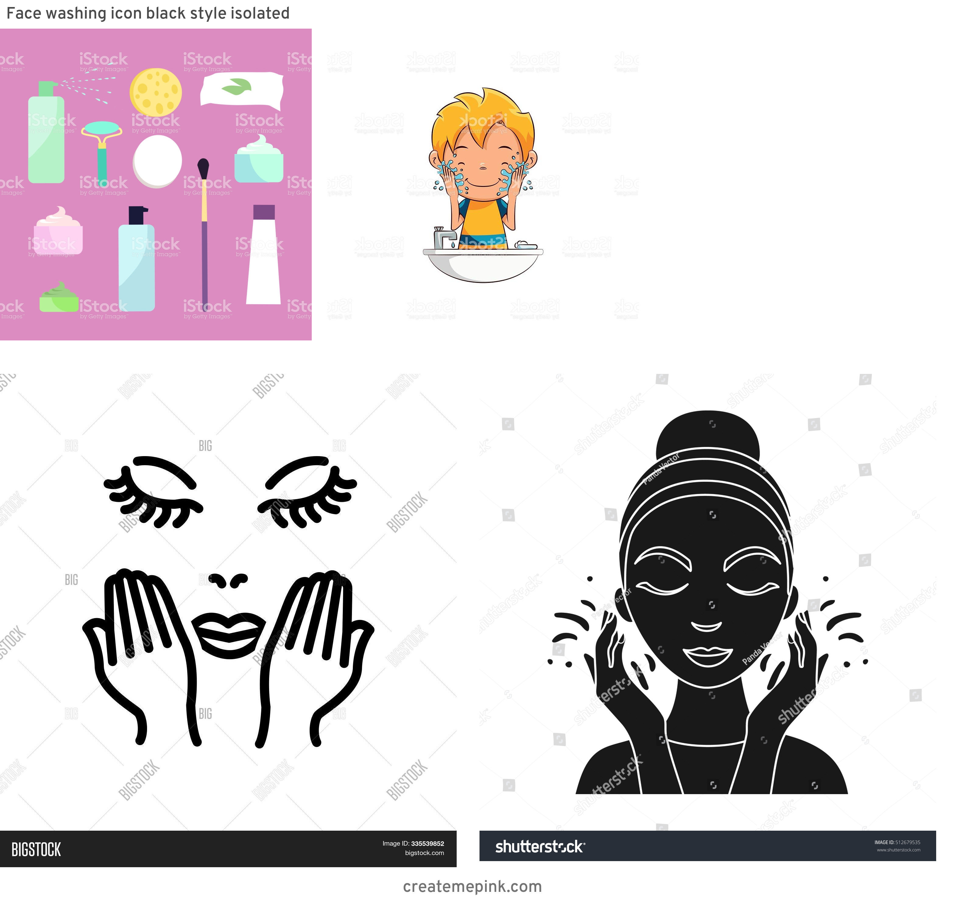 Vector Face Wash: Face Washing Icon Black Style Isolated