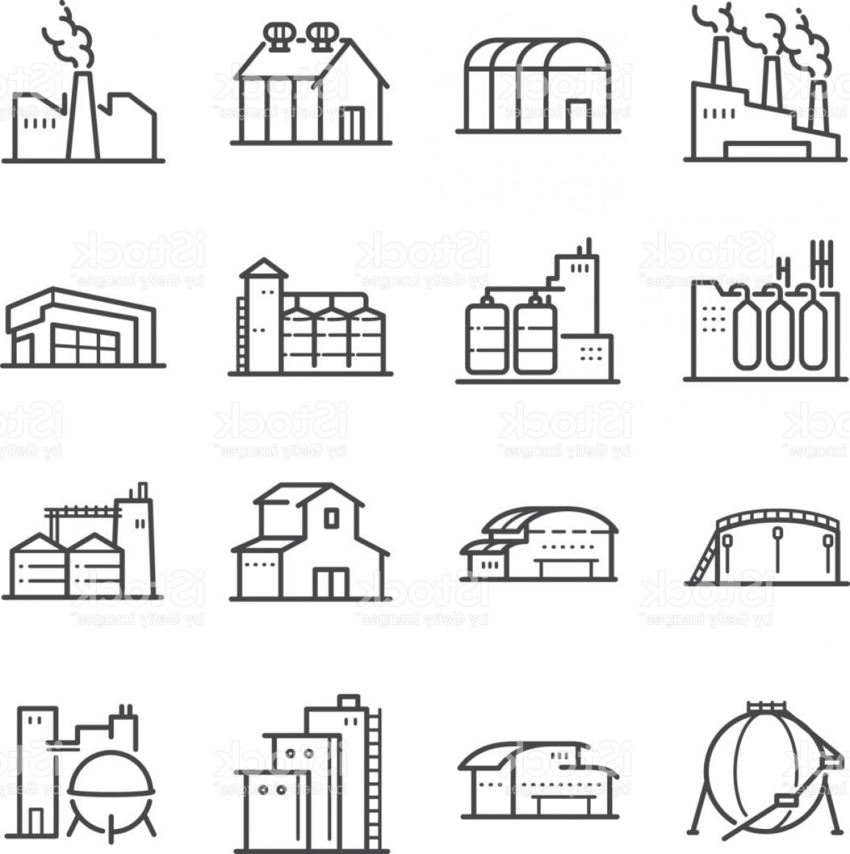 Industrial Vector Art: Factory And Industrial Vector Line Icon Set Included The Icons As Factory Silo Gm