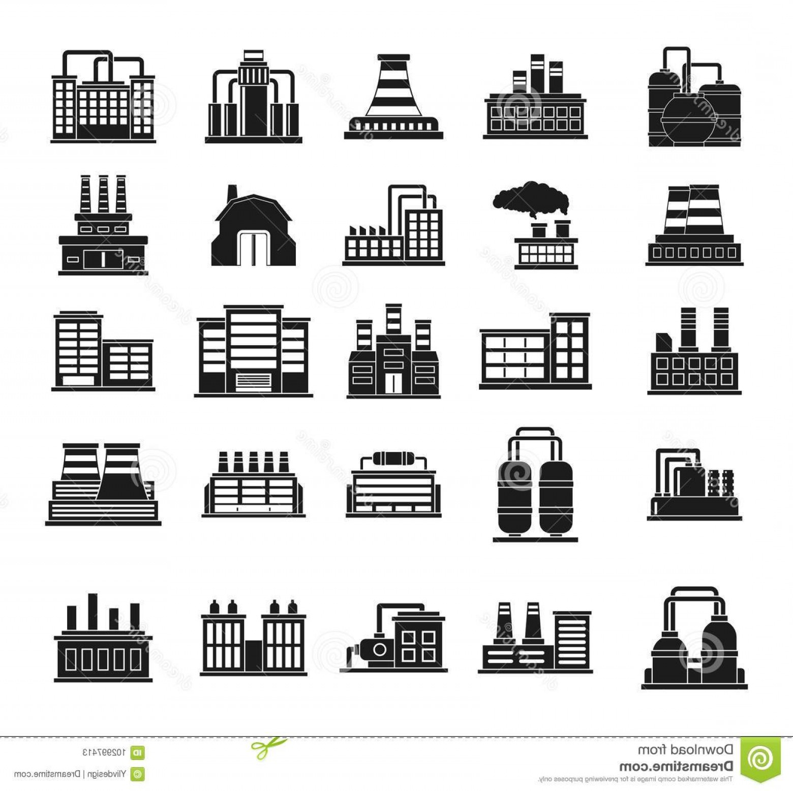 Gear Vector Icons Large: Factory Icon Set Simple Set Factory Vector Icons Web Design Isolated White Background Factory Icon Set Simple Style Image