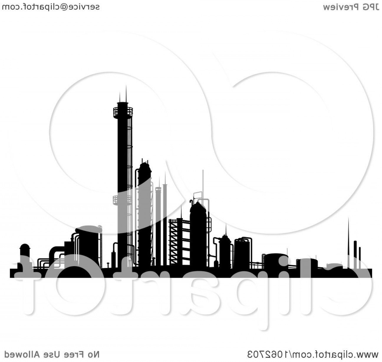Factory Vector Skyline: Factory In Black And White