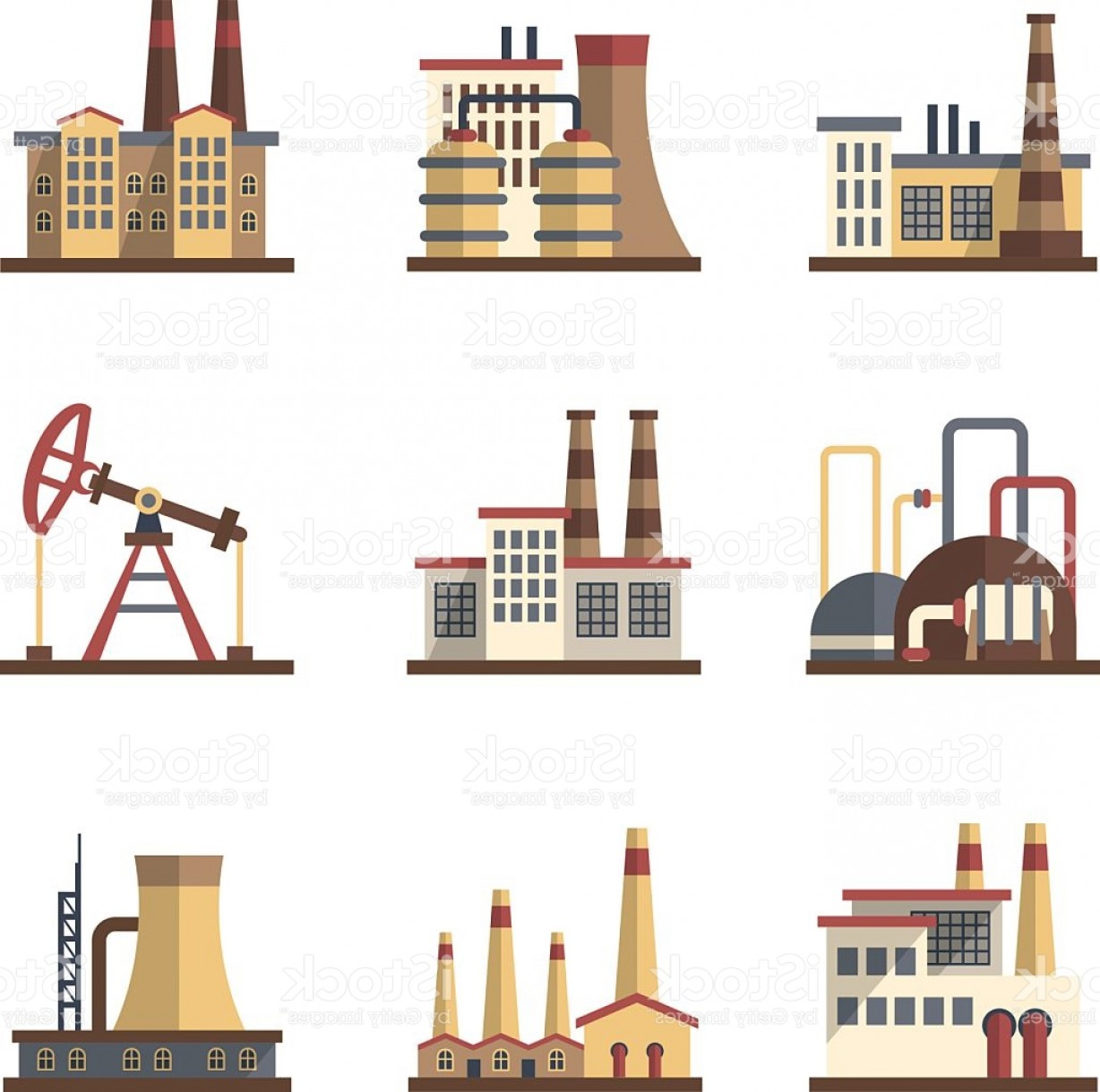 Industrial Vector Art: Factory Industrial Building And Manufacturing Plants Vector Flat Icons Gm