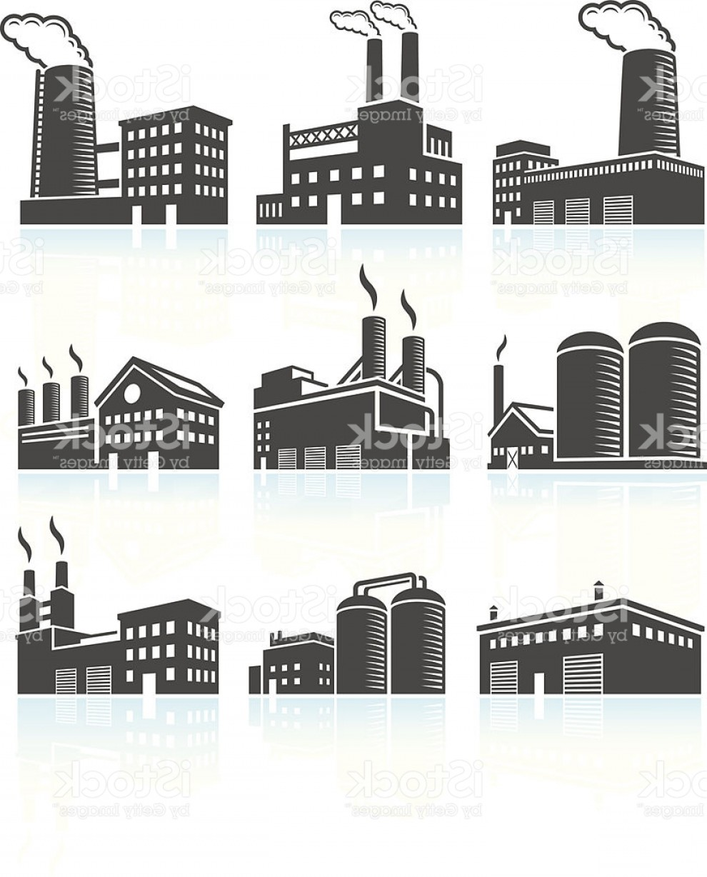 Industrial Vector Art: Factory Industrial Power Plant Buildings Black White Icon Set Gm